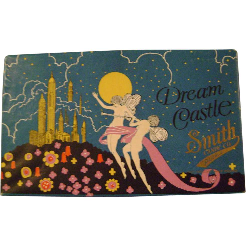 Vintage dream castle from smith candy box art deco candy boxes