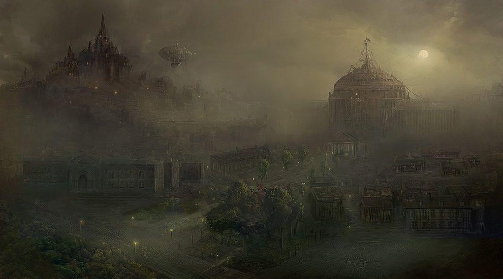 fantasy city concept art | dark city futuristic greey grey ...