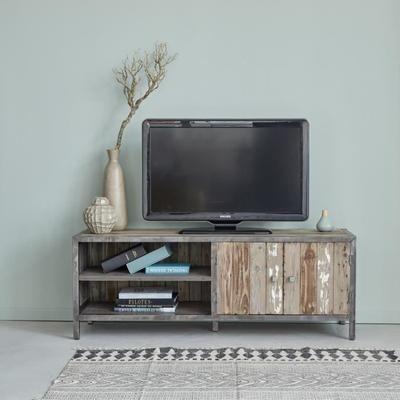 Meuble TV en pin recyclé et métal - Largeur 150 cm - 2 portes + 4