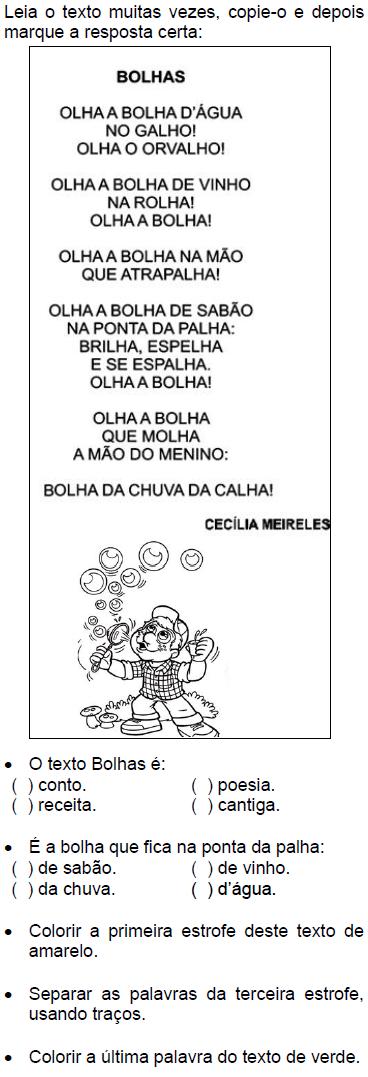 Famosos Texto BOLHAS, de Cecília Meireles | Interpretação texto  GB02