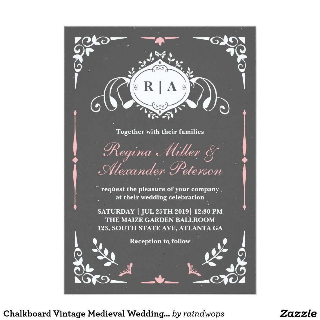 Chalkboard Vintage Medieval Wedding Invitation   Pinterest ...