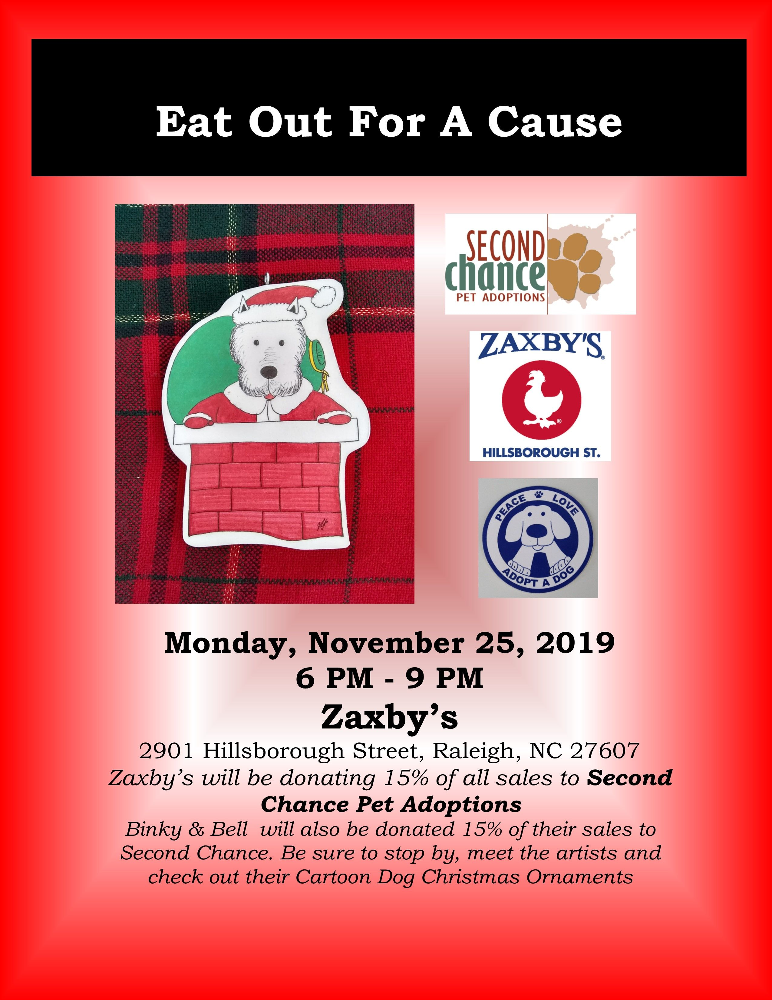 Join Binky & Bell, Zaxby's and secondchancepet for Eat