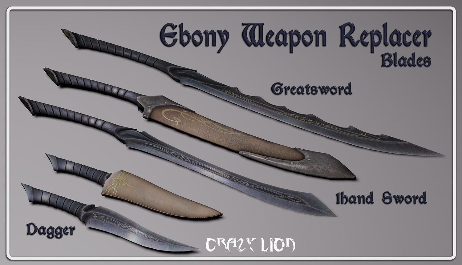Ebony Weapon Replacer at Skyrim Nexus - mods and community | Weapons