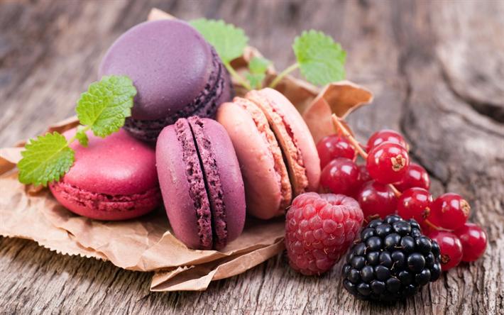 Lataa kuva Makaronit, hedelmä keksit, kakkuja, makeisia, jälkiruoka, värikkäitä macaroneja