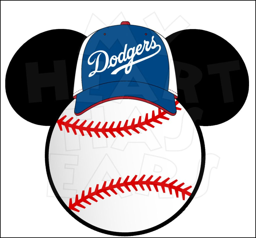 Los Angeles Dodgers Baseball With Mickey Mouse Instant Download Digital Clip Art My Heart Has Ears Los Angeles Dodgers Baseball Dodgers Dodgers Baseball