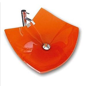 Eckige Orange Glas Waschbecken Mit Chrom Armatur 0917 Vt4019