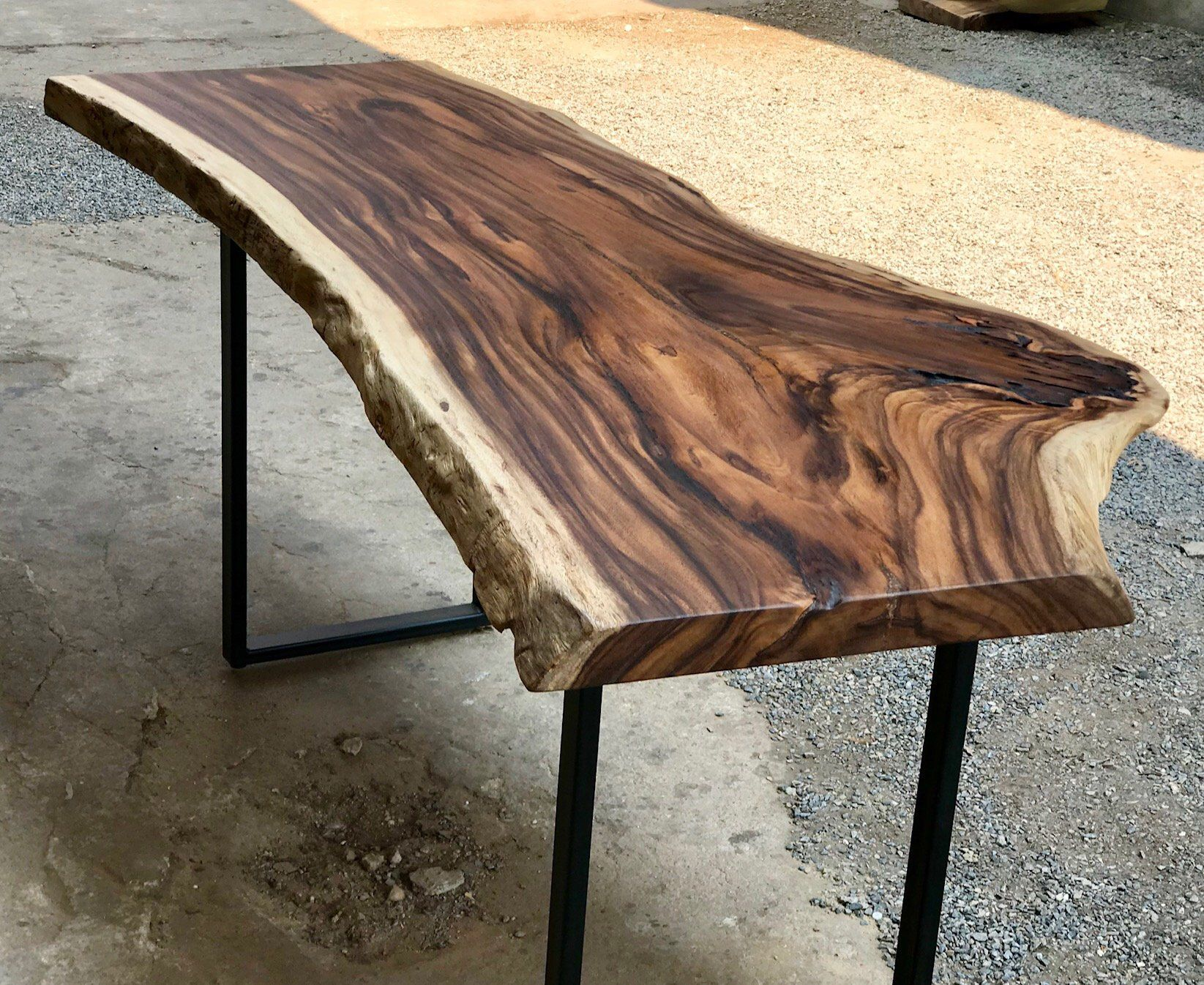 Golden Acacia Reclaimed Live Edge Single Slab Desk Console Etsy In 2020 Slab Desk Live Edge Wood Slab