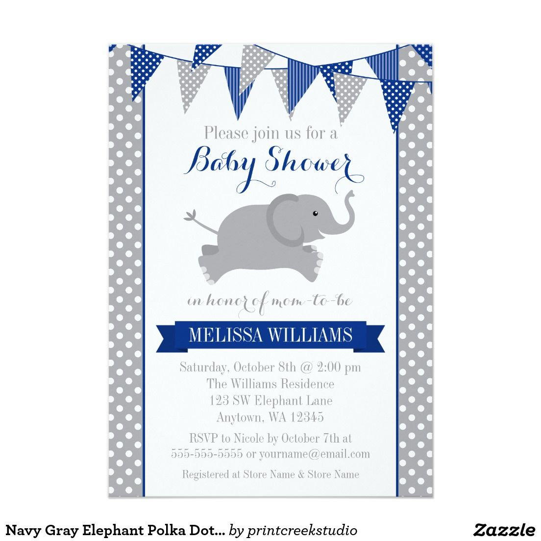 Navy Blue and Gray Elephant Polka Dot Bunting Baby Shower ...