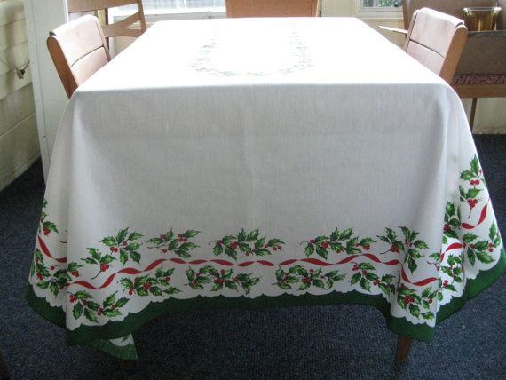 vintage lenox holiday christmas tablecloth holly and ribbons cotton 60 x 80 red green white
