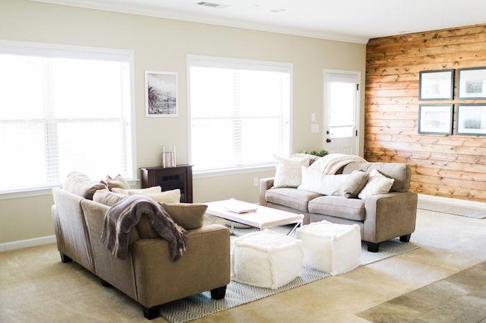 ▷ 1001 + idées déco pour adopter la couleur taupe clair chez vous - peindre un mur en bois