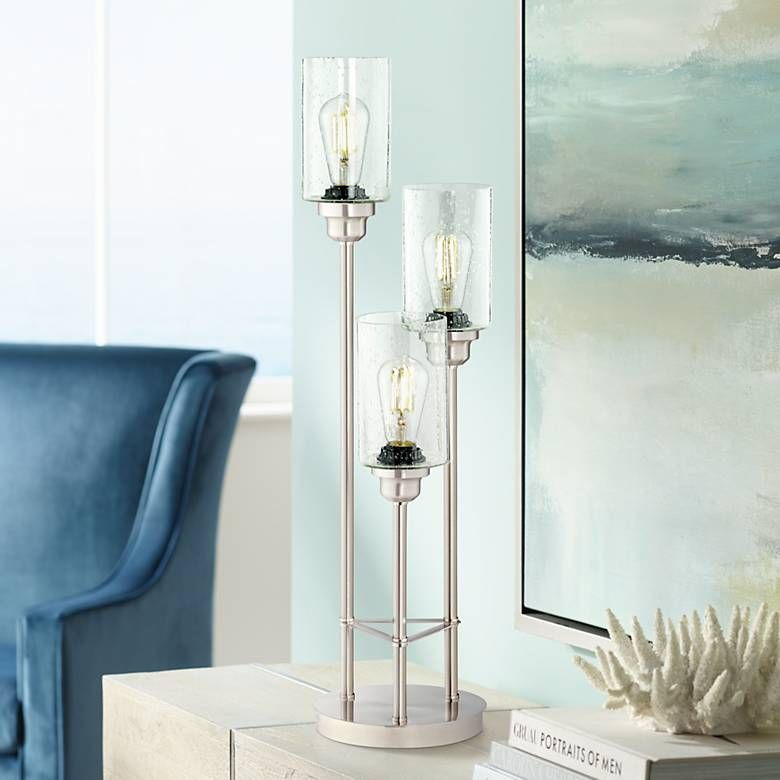 Trio Brushed Nickel 3 Light Led Table Lamp 44t79 Lamps Plus Led Table Lamp Table Lamp Design Table Lamp