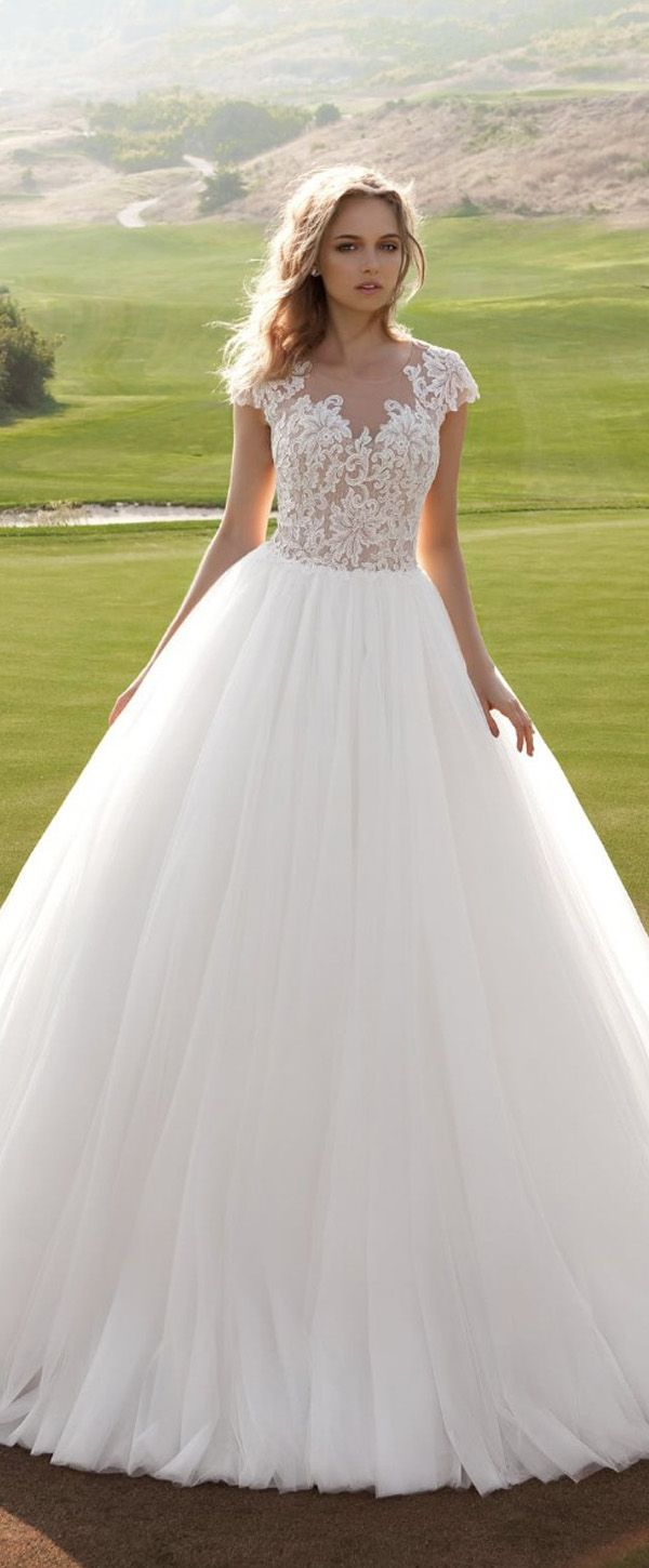 Dresses for wedding reception for bride  Graceful Tulle Sheer Jewel Neckline Ball Gown Wedding Dress With