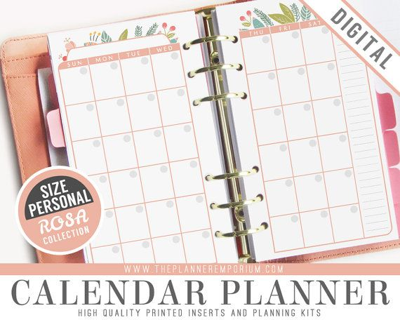 Personal Calendar Planner Inserts - Rosa Collection - Fits Kikki K