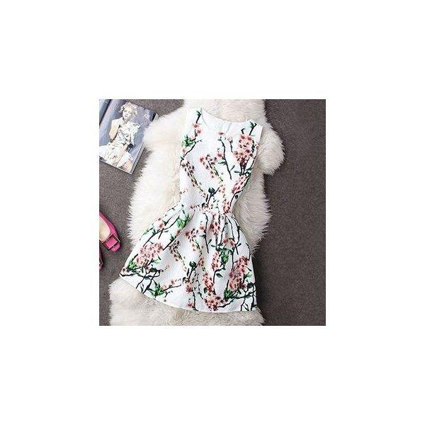 Sleeveless Printed A-Line Dress ($22) ❤ liked on Polyvore featuring dresses, women, no sleeve dress, cotton dress, sleeveless dress, white a line dress and white dress