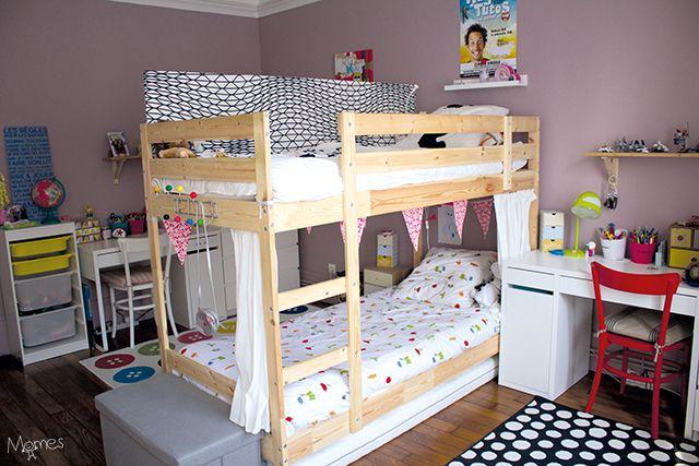 Séparer une chambre pour 2 enfants avec un lit superposé idée
