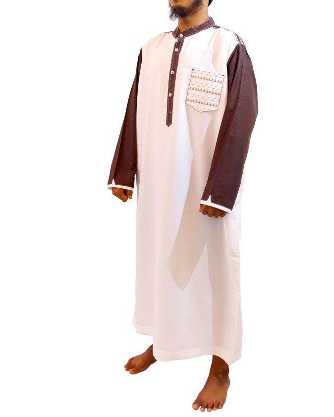 Jubah Muslim Pria Gamis Pria Modern Samase Warna Putih Coklat