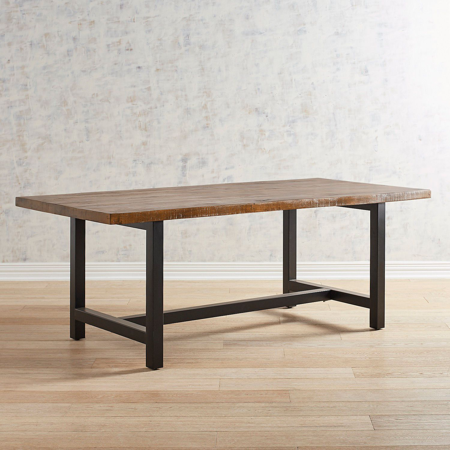 Harlan Brown Dining Table Metal Base Dining Table Dining Room
