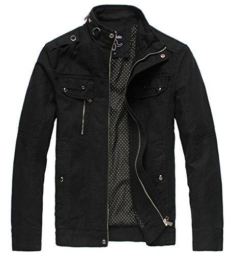 Wantdo Men's Cotton Stand Collar Lightweight Front Zip Jacket US X ...