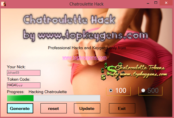 Chatroulette Hack is ready to use and We would like to publish it today. Chatroulette Tokens Hack was tested many times and Cheats Chatroulette works in 100%. It's next small step to make You easier way to play in games and get pleasure because of it. Let's enjoy and download Chatroulette Token Hack.
