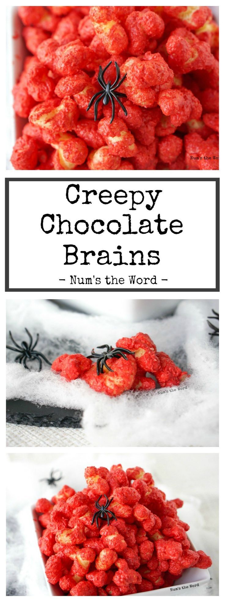 Creepy Chocolate Brains – A quick and easy 10 minute treat that is sure to be spooky and delicious! Red colored chocolate puffcorn is a favorite treat by all!