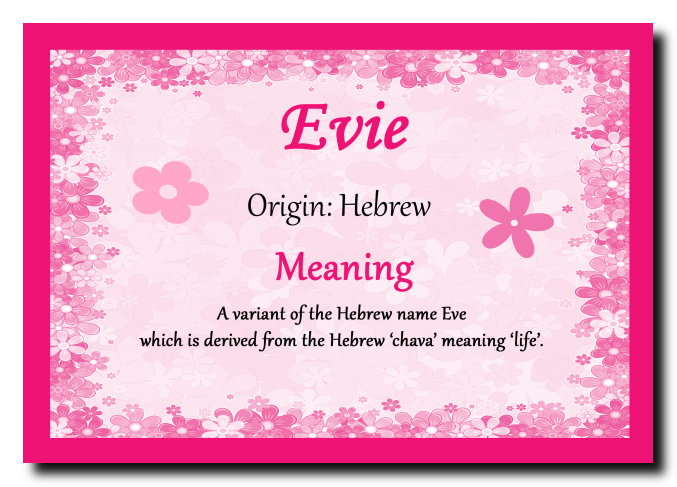 Evie Personalised Name Meaning Plaque . | Names with ...