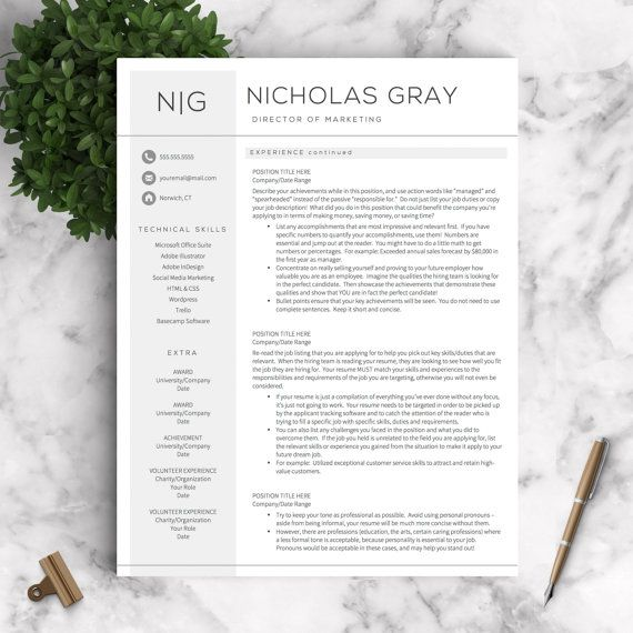 Professional Resume Template For Word And Pages The Nicholas