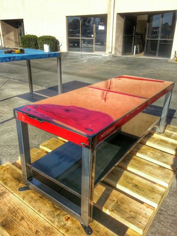 Table made from reclaimed steel and Chevy truck hood for Robert