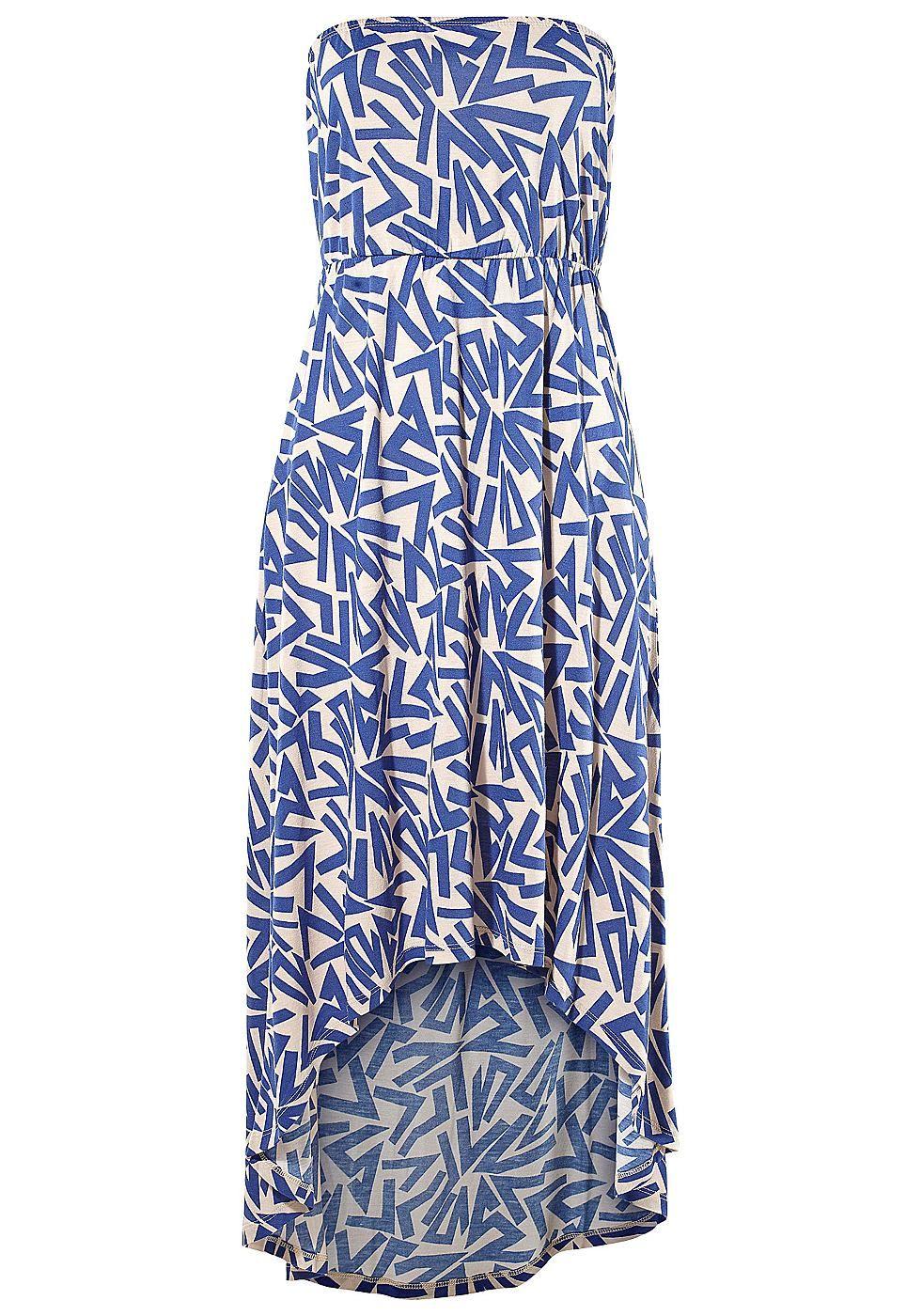 Neuer Look mit einem kürzeren Vorderteil und einem elastischen Unterbrustband. Länge ca. 112 cm.  Aus 100% Viskose....