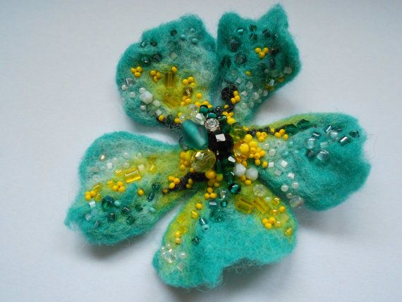 Wool Felted Blue Turquoise and Yellow Flower Pin by MaijaFeja, $28.00