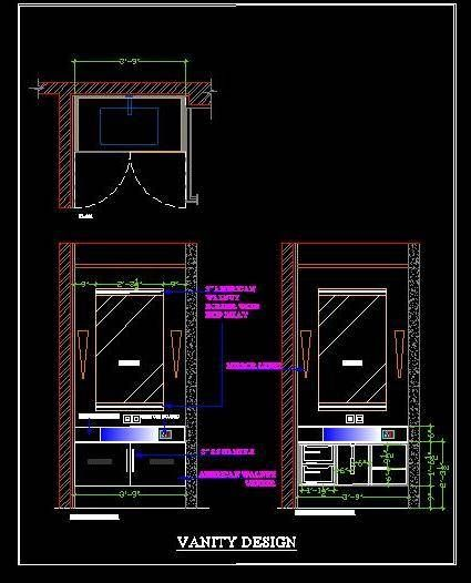 Vanity Design For Small Bathroom Free #Download #Autocad