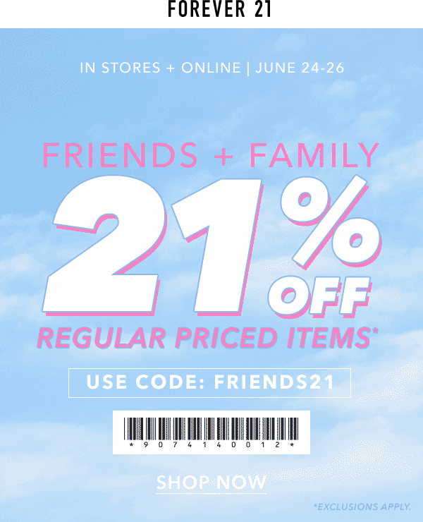 21 Off Today At Forever 21 Or Online Via Promo Code Friends21 Shopping Coupons Promo Codes Coupon Apps
