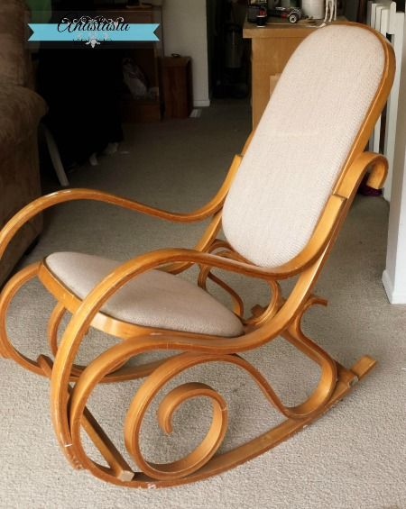 vintage bentwood rocking chair before - Two-Tone Bentwood Rocking Chair Makeover #fabflippincontest
