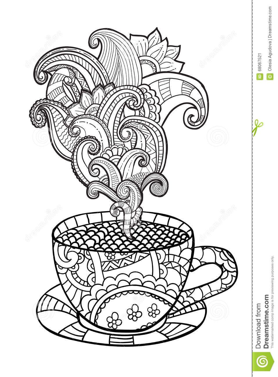 Photo About Vector Coffee Or Tea Cup With Abstract Ornaments Hand Drawn Illustration In Zentangle Style For Coloring Book Adult Pages