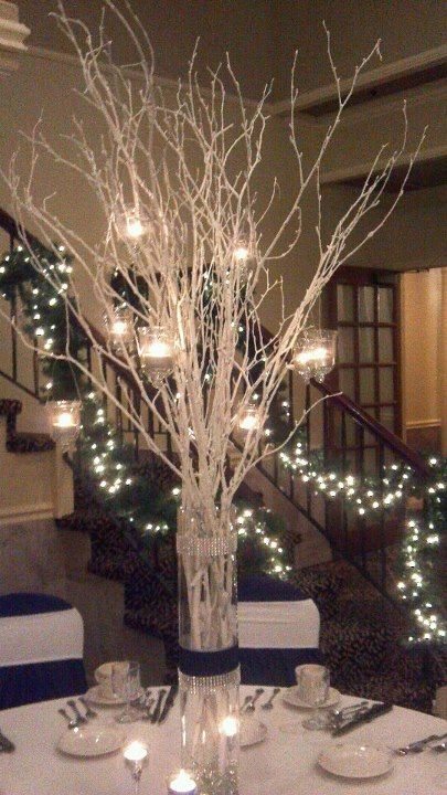 Black White Winter Themed Wedding Branch Centerpieces Christmas Branch Centerpieces Wedding Wedding Branches
