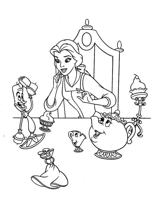 Storytelling Belle With Friends Coloring Pages - Beauty ...