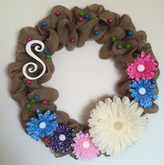 Posies for You!  Springtime wreath with a monogram! All for you!