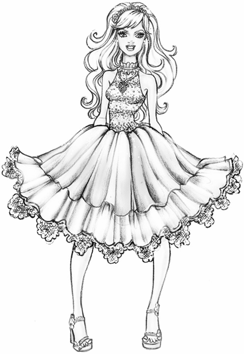 fashiion coloring pages barbie a fashion fairytale coloring page - Barbie Coloring Pages Print