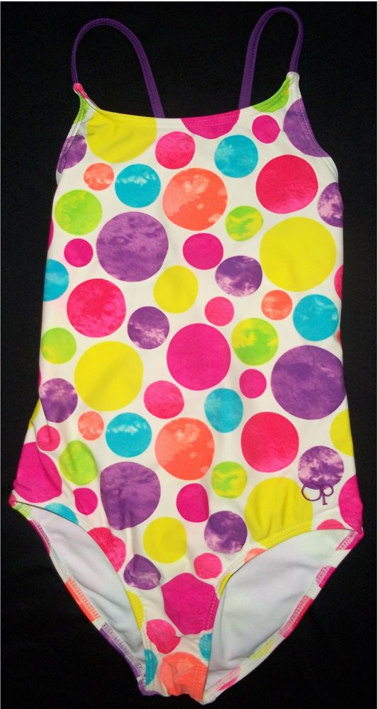 9a263f39da OP Girl 1 PC Pink Purple Blue Cool Tie Dye Dots Swimsuit Bathing Suit  Medium 7 8  Op  Swimsuit