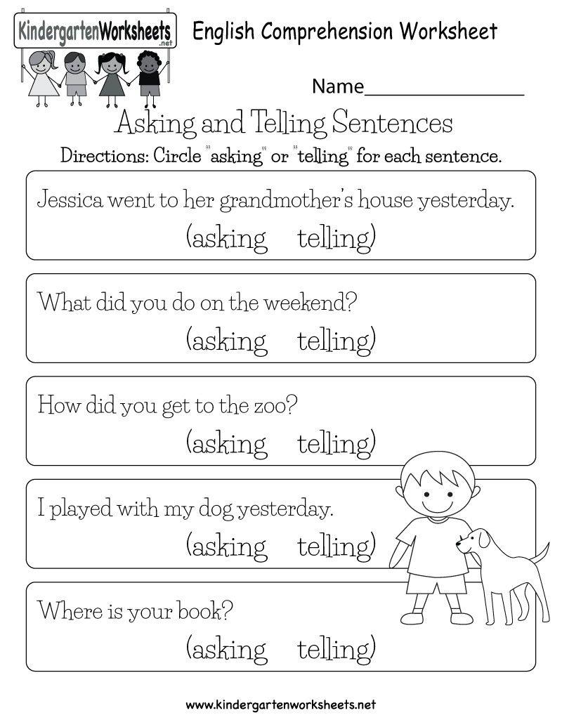 Eng comprehension 2 English worksheets for kids
