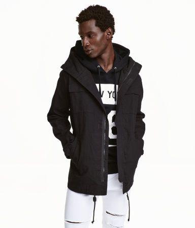 $49.99, Hooded Parka | Black | Men | H&M | Men's Fashion Wishlist ...