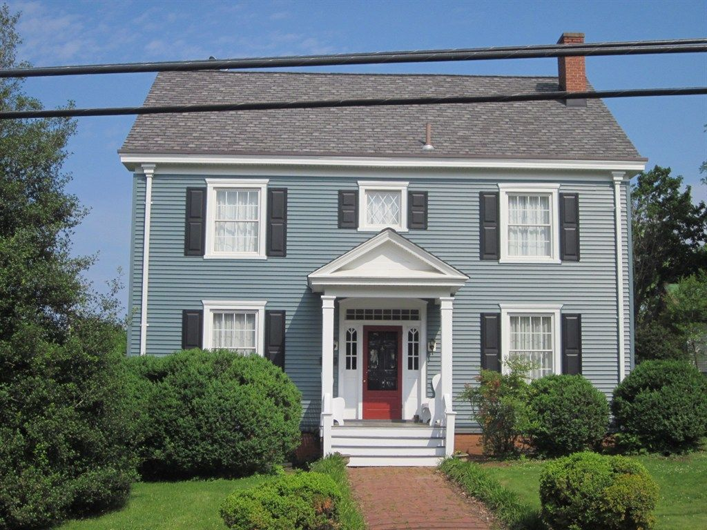 Blue House, Navy Shutters, Red Door. Exterior ColorsExterior ...
