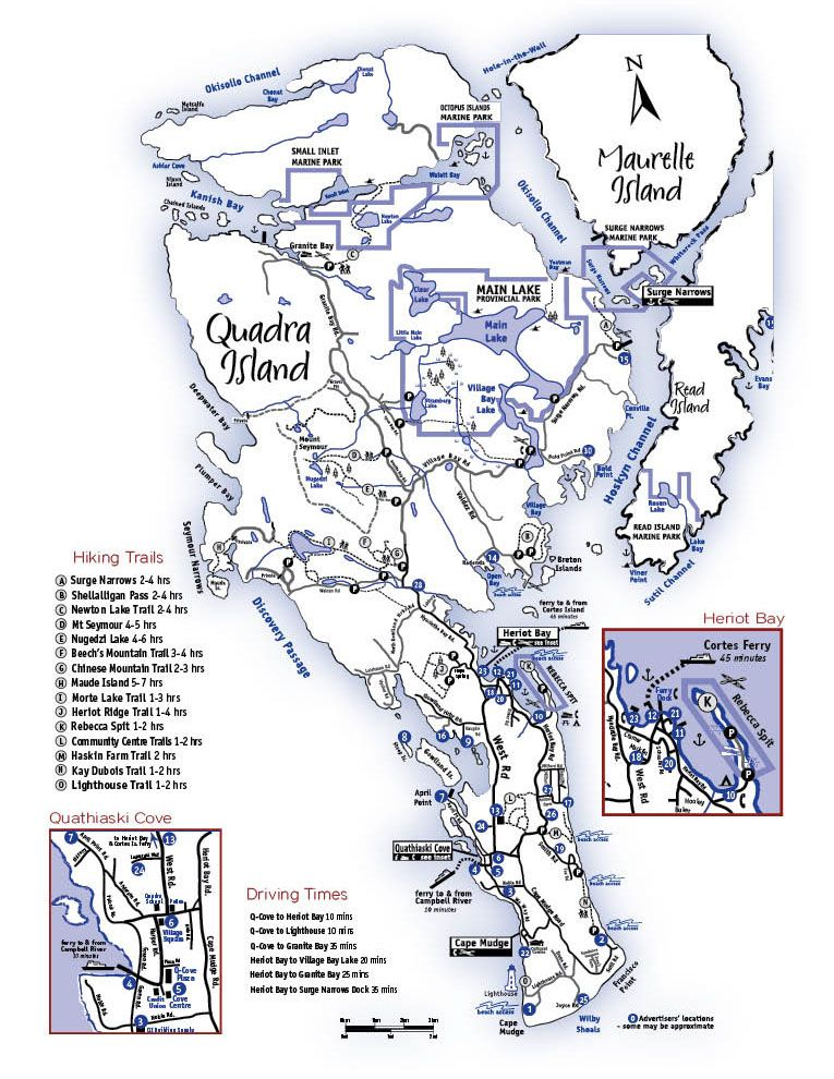 Quadra Island Map Map of Quadra Island, Discovery Islands, British Columbia, Quadra  Quadra Island Map