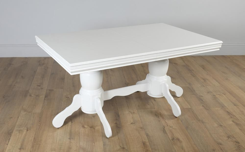 Chatsworth White Extending Dining Table With 6 Regent Oatmeal Fabric Chairs Dining Table Chairs