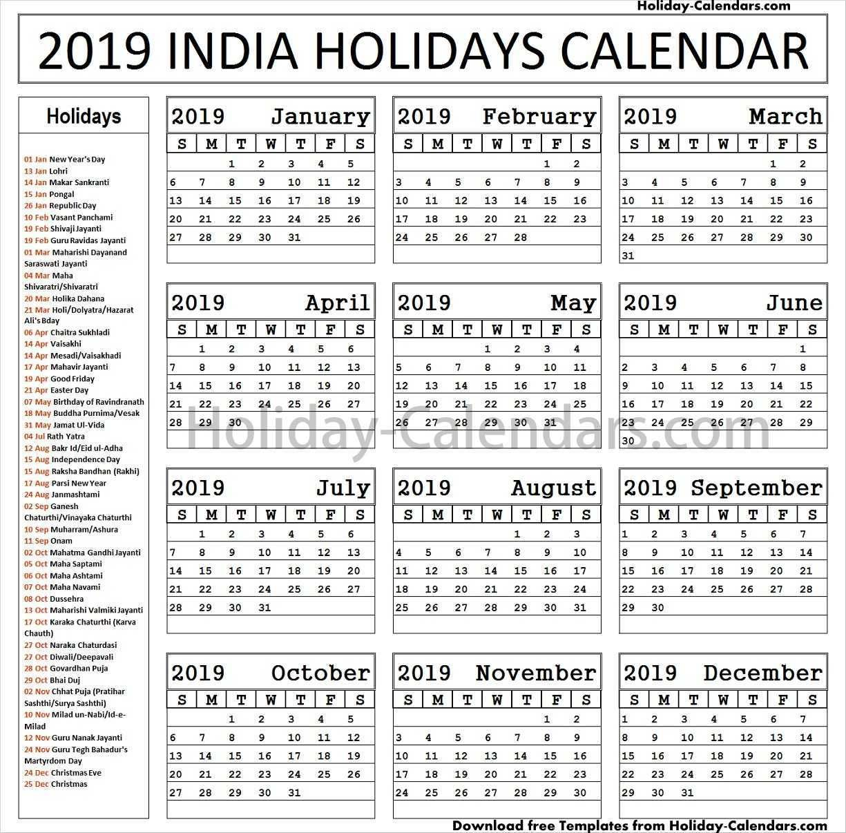 Indian Bank Holidays List 2019 Download Pdf Holidays Germany