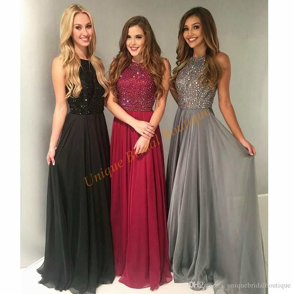 2016 Prom Dresses Major Beading With Crew Neck And Sweep Train Real Model  Crystals Chiffon Custom Ring Dance Gowns Petite Prom Dresses Uk Pink Prom  Dresses ... 6f6c2d08abc8