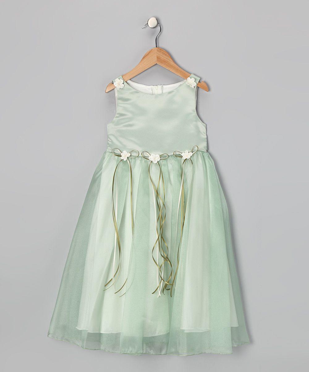 Kids dream sage satin organza dress toddler girls
