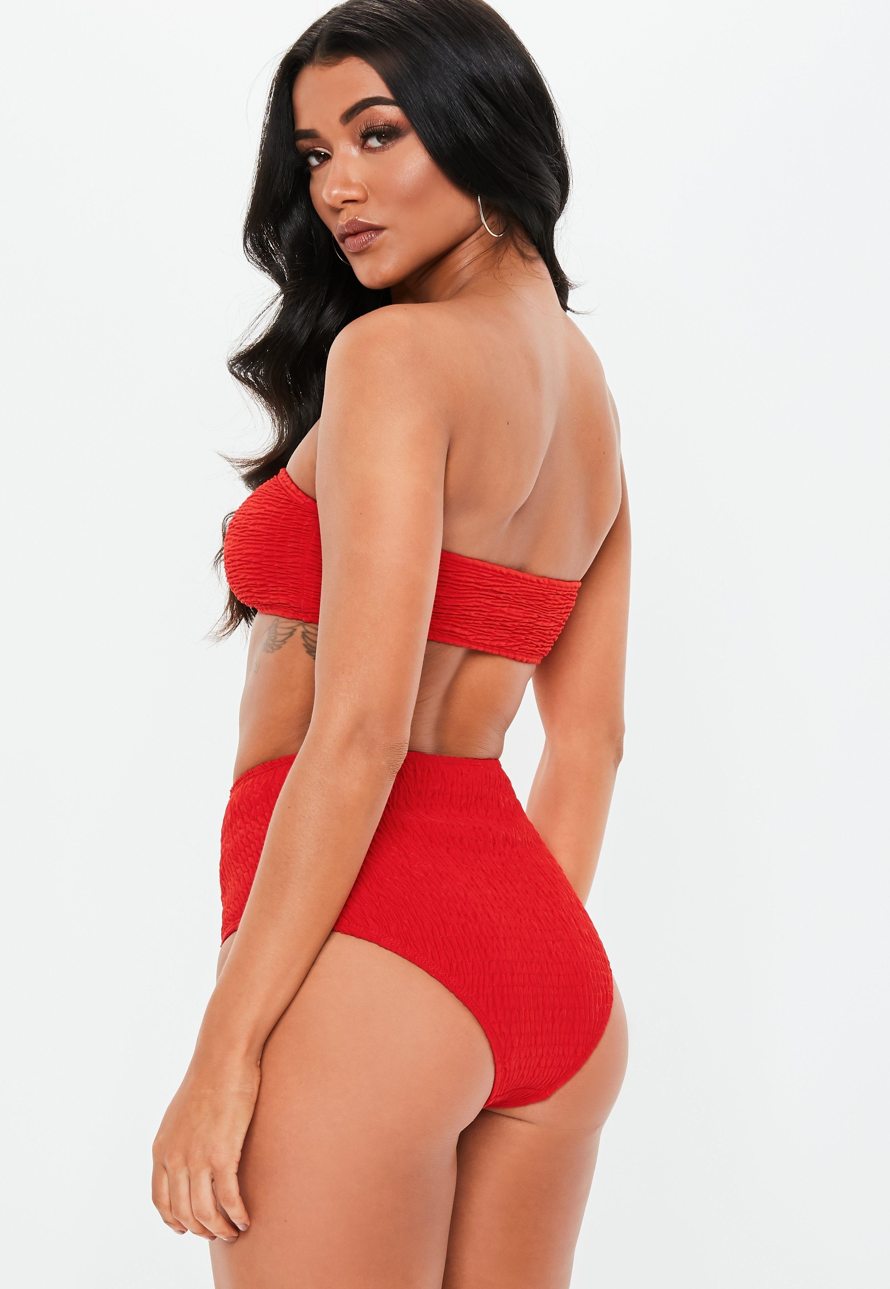 555aa223d75 Red Crinkle Mix and Match Bandeau Bikini Top #Sponsored #Mix, #SPONSORED,  #Crinkle, #Red