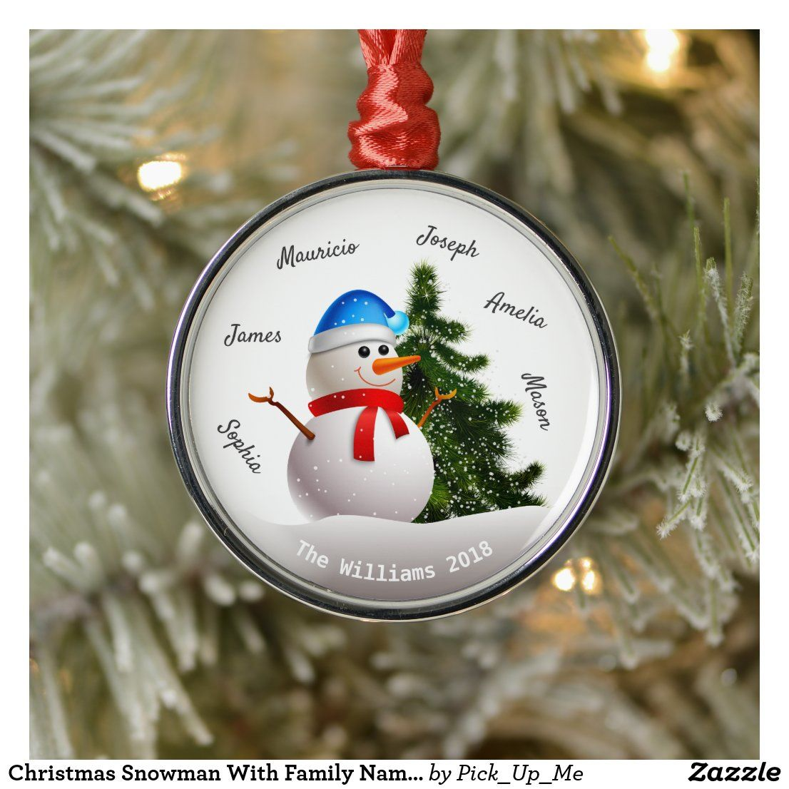 Christmas Snowman With Family Names Metal Ornament Zazzle Com In 2020 Christmas Snowman Custom Christmas Ornaments Custom Ornament