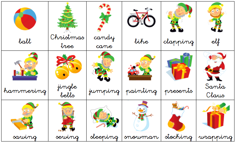 Free #Vocabulary list of #Christmas #Printables in #English for ...