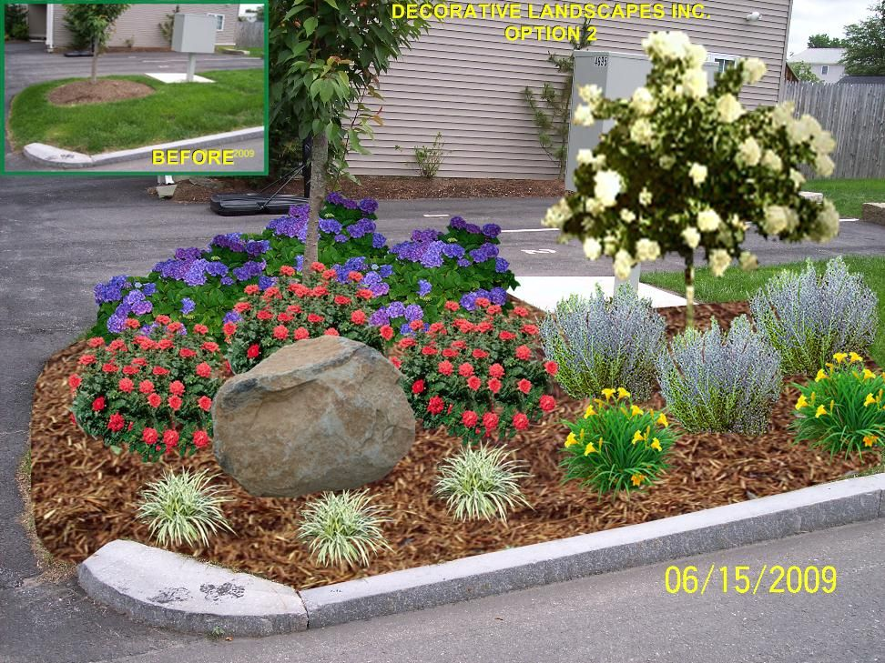 Landscaping ideas for driveway entrance condominium for Landscape garden ideas pictures